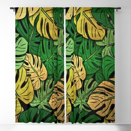 Grunge Monstera Leaves Blackout Curtain