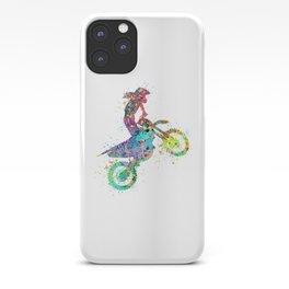 Girl Motocross Colorful Watercolor Moto Bike Supercross Art iPhone Case