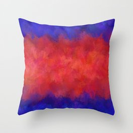 Red Pink Blue Color Explosion Abstract Throw Pillow
