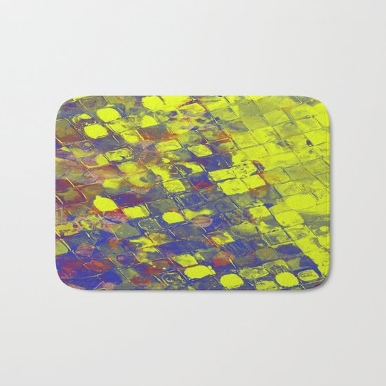 Take The First Step - Abstract, blue and yellow pattern Bath Mat