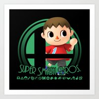 super smash bros Art Prints featuring Villager - Super Smash Bros. by Donkey Inferno