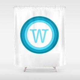 blue letter W Shower Curtain