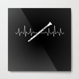 Clarinet Heartbeat Metal Print