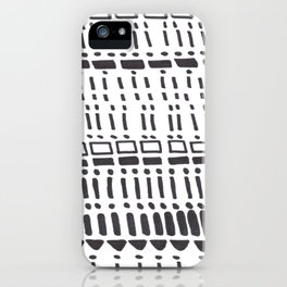 Ancient Tribal Marking Patterns Hand Drawn Pattern Symbols Shapes Black And White iPhone Case