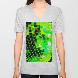 Funky Green Disco Ball Unisex V-Neck