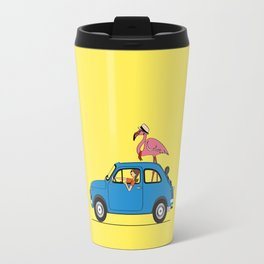 Pink Flamingo Fiat500 Travel Mug