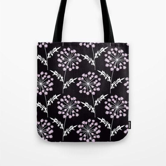 Fishnet pink flowers on a black background. Tote Bag