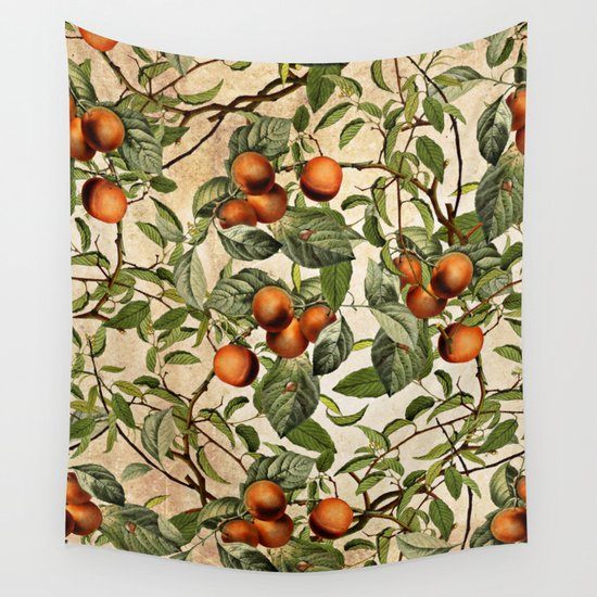 Vintage Fruit Pattern Wall Tapestry By Burcu Korkmazyurek