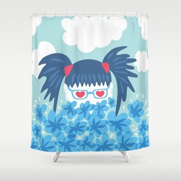 Geek Girl With Heart Shaped Eyes And Blue Flowers Shower Curtain