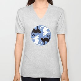 Cats Blue Unisex V-Neck