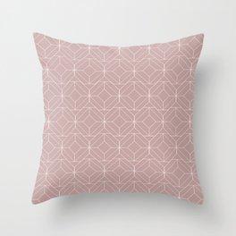 Minimalist Geometric Diamond Shapes in Shell Pink Throw Pillow