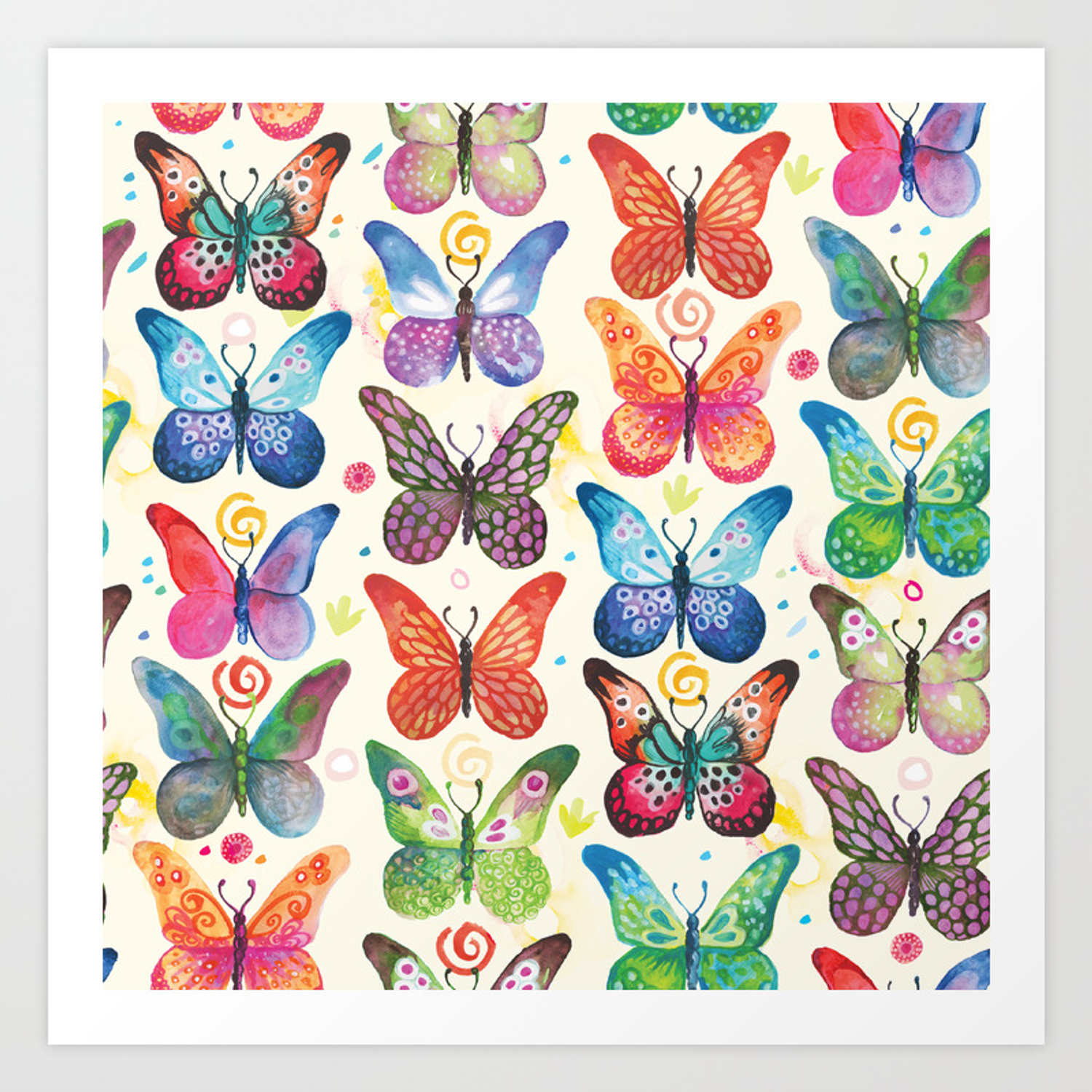 Colorful Butterflies Art Print By Camcreative Society6