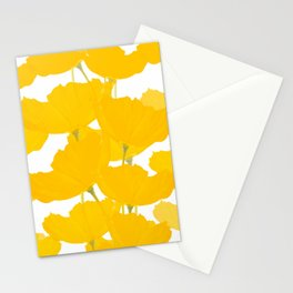 Yellow Mellow Poppies On A White Background #decor #society6 #buyart Stationery Cards