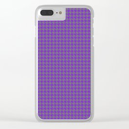 Purple Violet Grey Houndstooth Pattern Clear iPhone Case