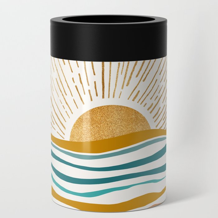 The Sun and The Sea - Gold and Teal Can Cooler
