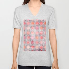 Rhythm of the Seasons - coral pink & grey Unisex V-Neck