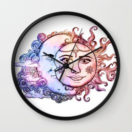 colored Sun and Moon Wall Clock