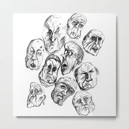 Creepy Man Faces Metal Print