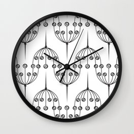 Abstract geometric pattern with floral elements Wall Clock