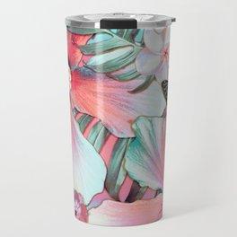 Peachy Mint Hibiscus Tropical Travel Mug