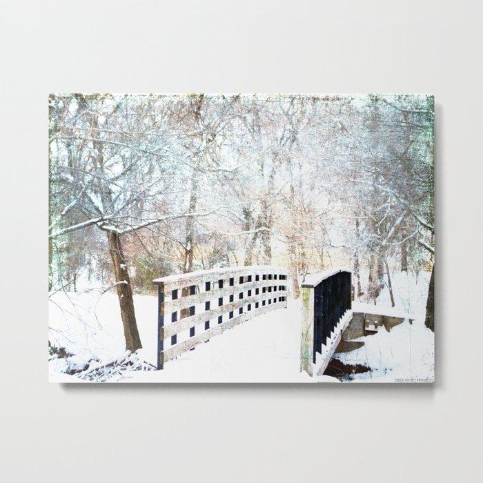 Snowy Winter Trail Metal Print