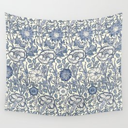 William Morris Navy Blue Botanical Pattern 6 Wall Tapestry