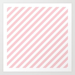 Light Millennial Pink Pastel and White Candy Cane Stripes Art Print