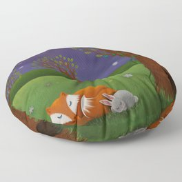 Fox And Bunny Dreaming The Night Away Floor Pillow