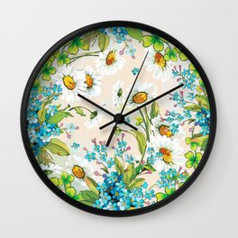 Adorable white sunflower texture Wall Clock
