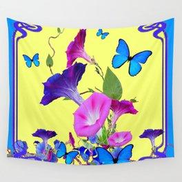 Blue Purple Morning Glories Butterfly Art Noveau Wall Tapestry