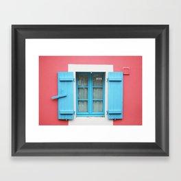 28. The Blue shutters, Bretagne, France Framed Art Print