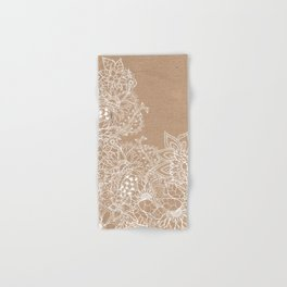 Modern white hand drawn floral illustration on rustic beige faux kraft color block Hand & Bath Towel