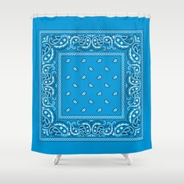 Bandana - Paisley - Blue - White Shower Curtain