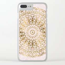 Marble mandala - golden on pink marble Clear iPhone Case