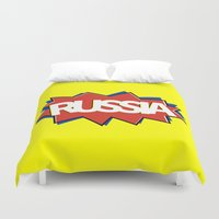 russia Duvet Covers featuring Russia by mailboxdisco