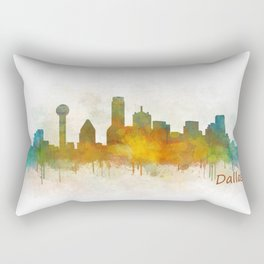 Dallas Texas City Skyline watercolor v03 Rectangular Pillow