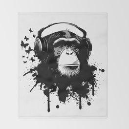 Monkey Business - White Throw Blanket