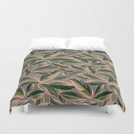 Calathea Leaves Pattern- Pink Green Gray Duvet Cover