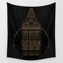 Oakland is Design (Black & Gold) Wall Tapestry