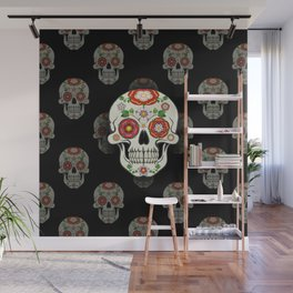 Lancashire Rose Sugar Skull (Black pattern) Wall Mural