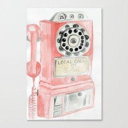 Vintage Pink Payphone Canvas Print