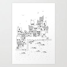 Harbour sketch Art Print