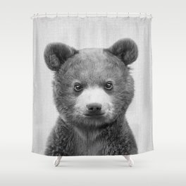 Baby Bear - Black & White Shower Curtain