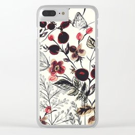 Watercolor autum berries and foliage Clear iPhone Case