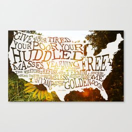 Emma Lazarus, Statue Of Liberty Give Me Your Tired Quote Canvas Print