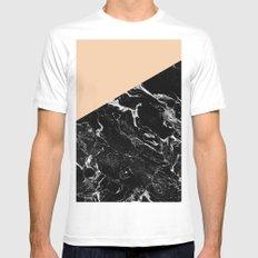 Modern elegant peach black marble color block Mens Fitted Tee MEDIUM White