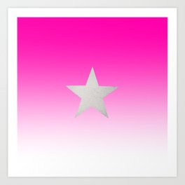 Star  Glitter effect  Pink  White Art Print