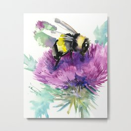 Bumblebee and Thistle Flower, honey bee floral Metal Print