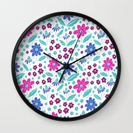 Blue and purple small flowers print Wall Clock