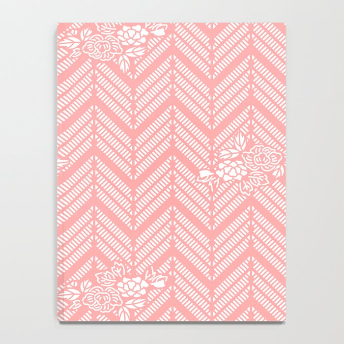 Coral Pink Chevron Floral Notebook